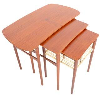 Atomic Danish Modern Teak & Cane Nesting Tables - Set of 3