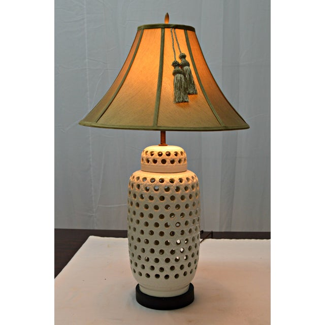 Mid-Century White Perforated Porcelain Table Lamp - Image 3 of 9
