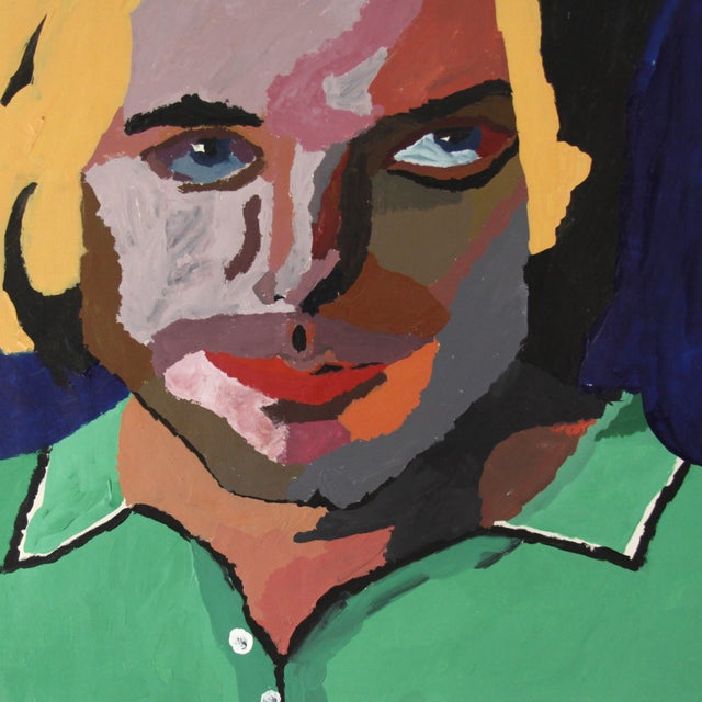 Image of Vintage Pop Art Original Painting of a Man