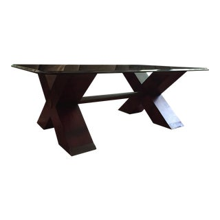 Henredon Double X Base Glass Top Coffee Table