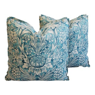 Morris Sunflower Linen & Velvet Pillows - a Pair