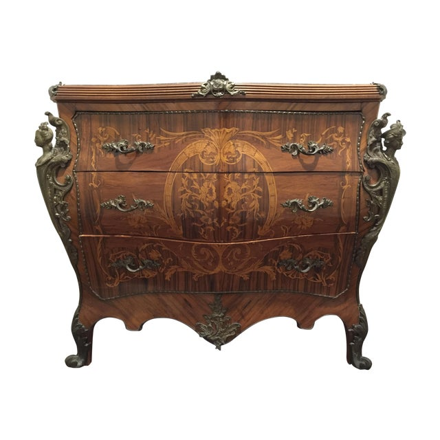 Ant Marble Top Louis XV Marquetry Commode Bronze - Image 1 of 11