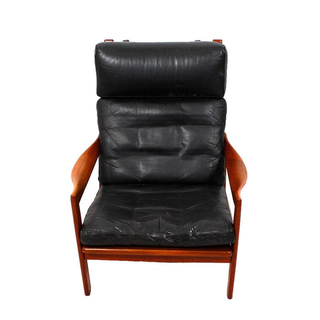 Illum Wikkelso Teak & Leather Lounge Chairs - Pair - Image 2 of 7