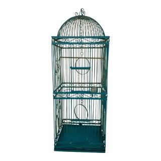 1970s Turquoise Metal Birdcage