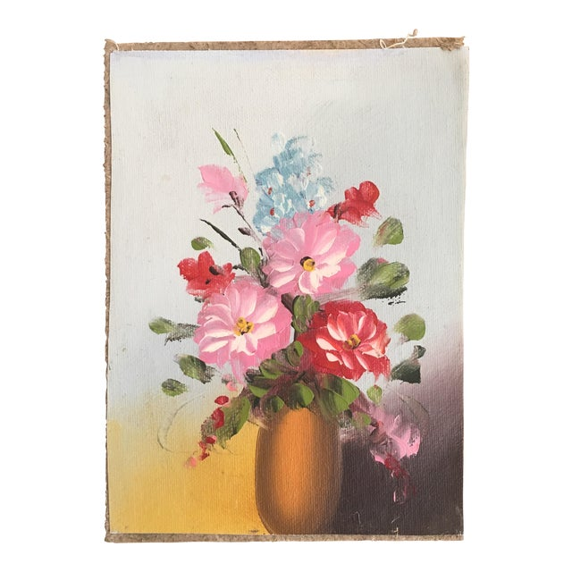 Vintage bright floral oil painting chairish for Bright flower painting