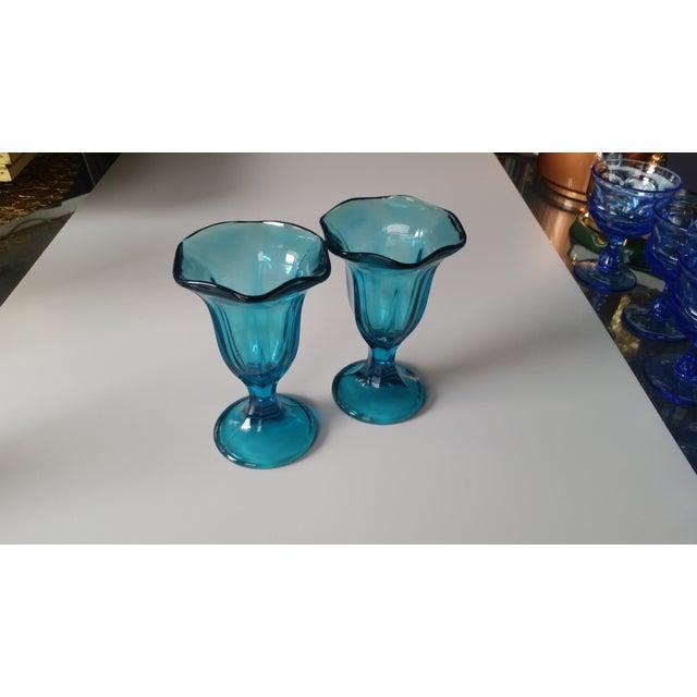 Vintage Teal Blue Glass Sundae Glasse - Pair - Image 2 of 4