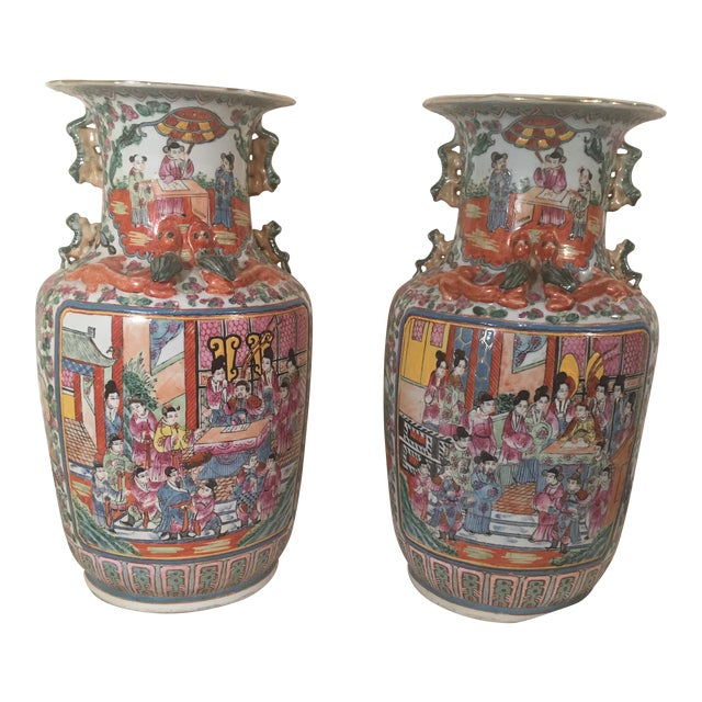 Chinese Rose Medallion Porcelain Vases - A Pair - Image 1 of 11