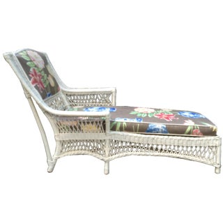Antique White Wicker Chaise Lounge