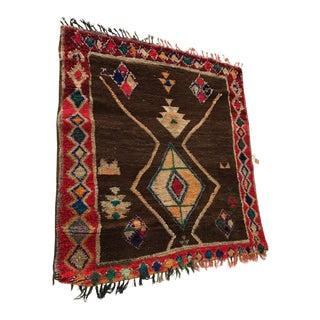 "Vintage Moroccan Rare Square Rug - 4'10""x4'11"""