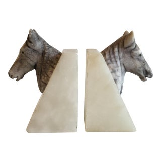 Marble Horse Head Bookends - A Pair
