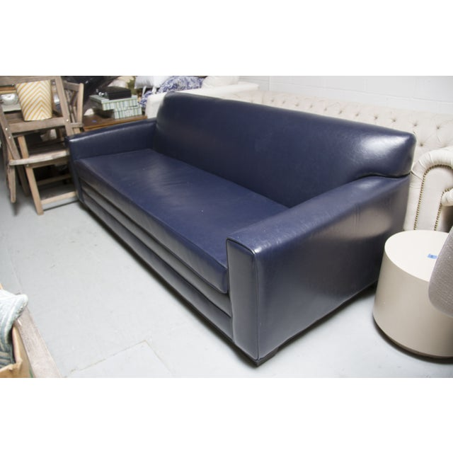 navy blue leather sofa chairish