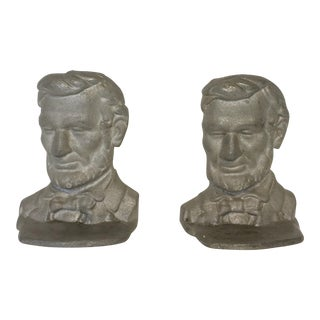 Vintage Abraham Lincoln Cast Iron Bookends - A Pair
