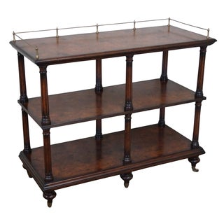 Quality Burl Wood 3 Tier Regency Style Server Cart