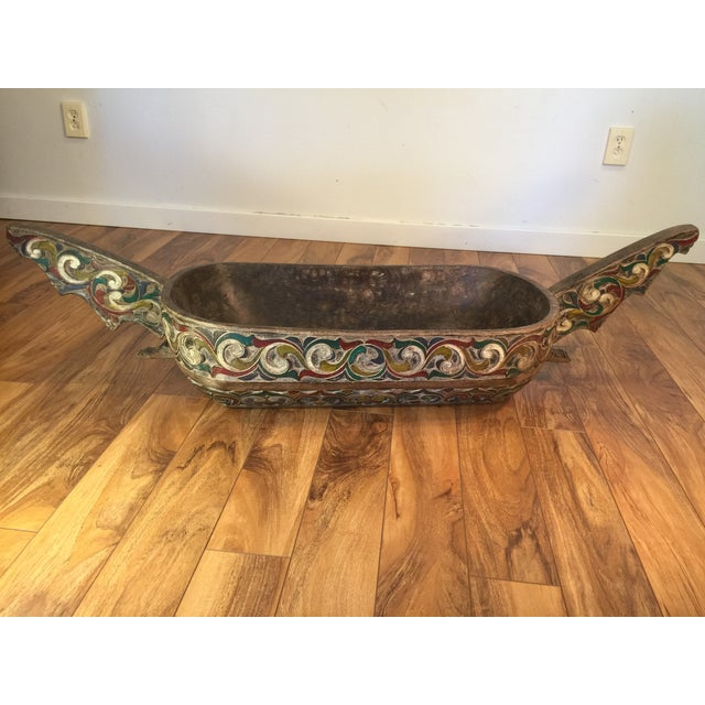 Image of Filipino Carved & Painted Very Large Food Bowl