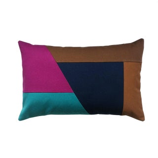 Color Blocking Lumbar Throw Pillow