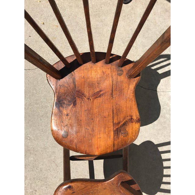 Primitive Wood Dining Chairs - Set of 4 - Image 4 of 4