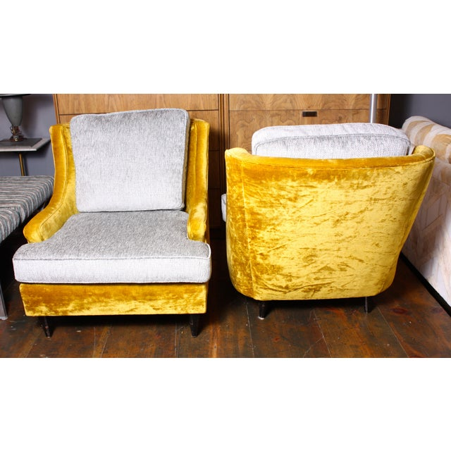 American Modern Lounge Chairs & Ottoman - A Pair - Image 3 of 7