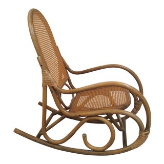 Vintage Bamboo & Cane Franco Albini Style Rocking Chair