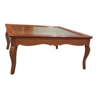 Ethan Allen Country French Coffee Table With Beveled Glass Insert