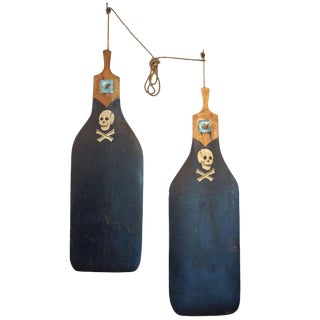 Pair of Boat Rudders with Hand-Painted Skull and Crossbones, circa 1930