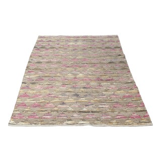 New Bohemian Geometric Pattern Wool Rug - 5' x 7'