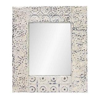 Mixed Pattern White Square Tin Mirror