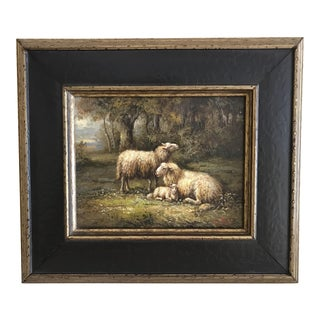 """""""Sheep in Meadow"""" Oil Landscape Painting"""