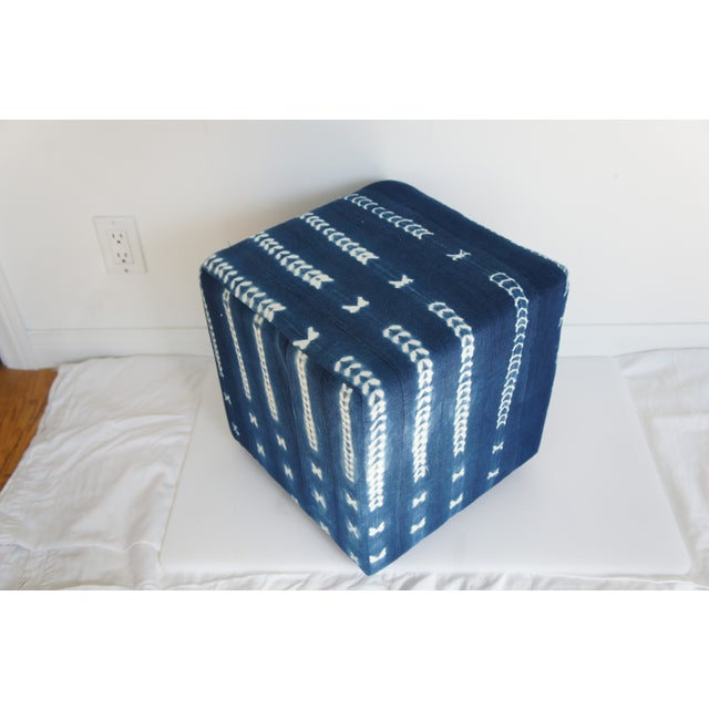 Vintage African Indigo Mudcloth Cube Ottoman - Image 2 of 4