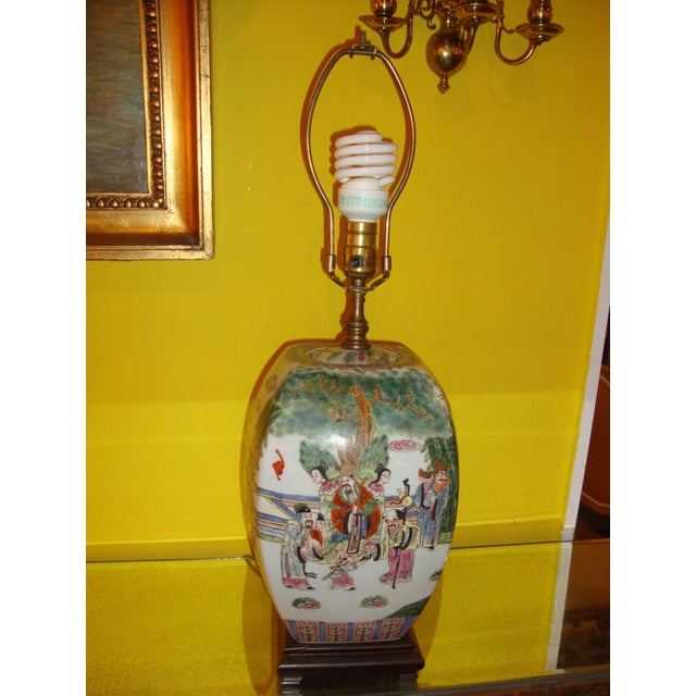 Chinese Export Porcelain Painted Ginger Jar Table Lamps- A Pair - Image 9 of 10