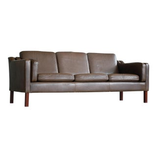 Danish Mid Century Modern Borge Mogensen Style Sofa in Brown Leather