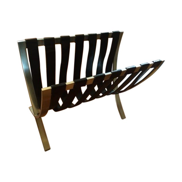 Metal & Black Leather Strap Folding Magazine Rack - Image 1 of 5