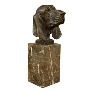 Hush Puppy Basset Hound Scent Dog Breeder Bronze on Marble Base Statue