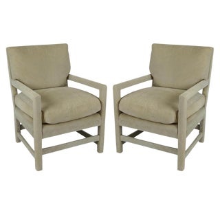 Pair of Suede Lounge Chairs by Billy Gaylord