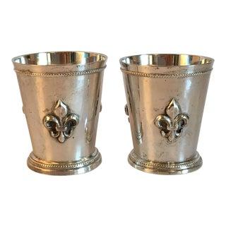 Silver Plate Fleur De Lis Cups - A Pair