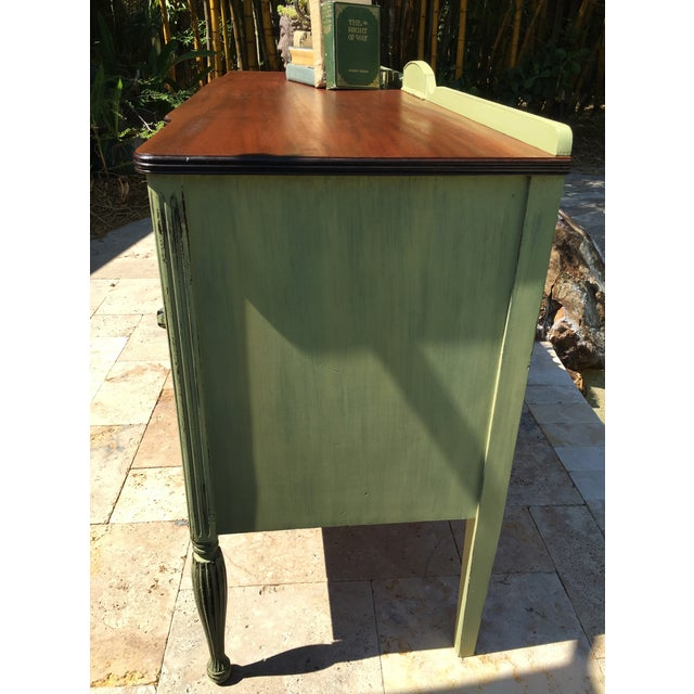 Vintage Green Milk Paint Buffet Sideboard Credenza - Image 6 of 11