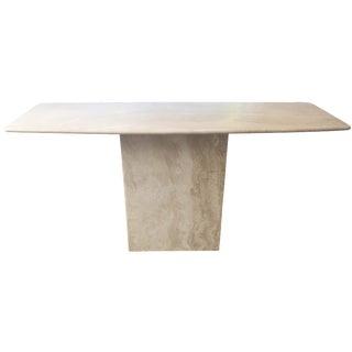 Italian Travertine Marble Console Table