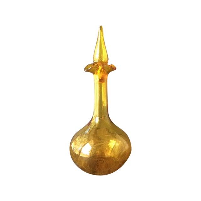 Vintage Glass Golden Decanter - Image 1 of 5