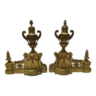 Antique Ornate Brass Fireplace Andirons - Pair