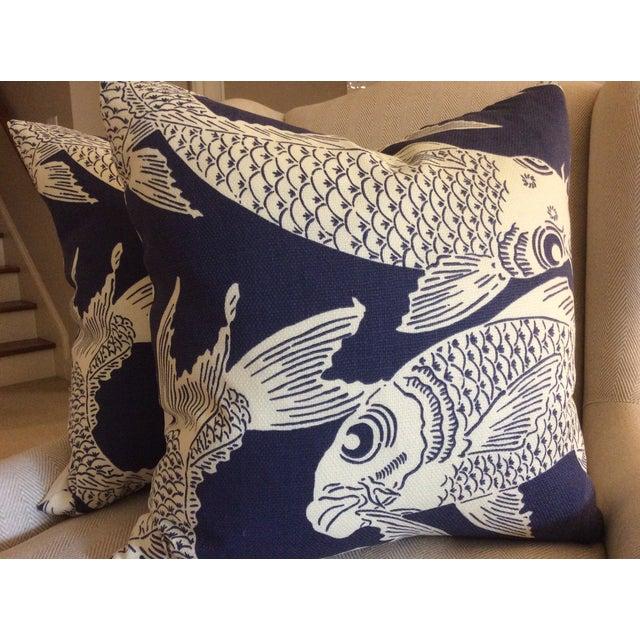 """Image of Manuel Canovas """"Calypso"""" Navy Pillows - A Pair"""