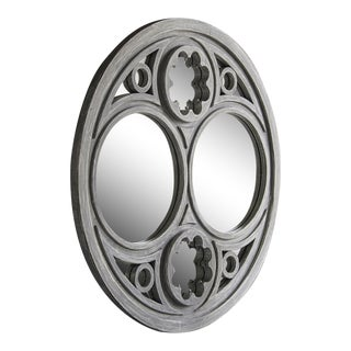 French Circular Handmade Painted Timber Window Frame With Shaped Detail Mirror (52″dia.)