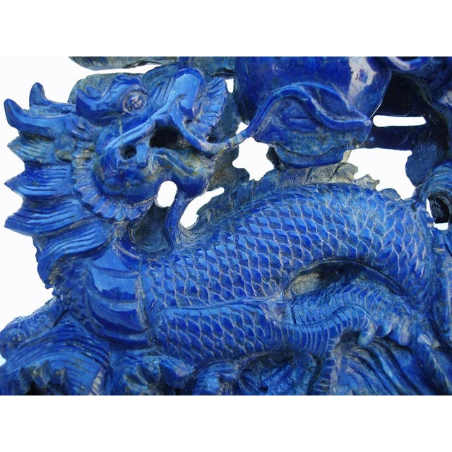 Image of 3-D Carved Lapis Asian Dragons Statue