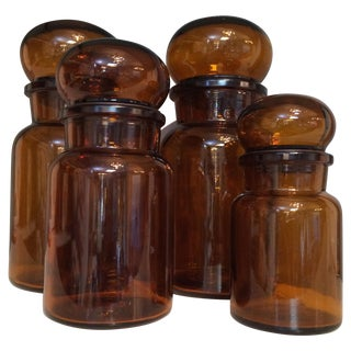 Brown Belgian Glass Containers - Set of 4