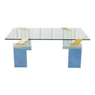 Modern Design Brass & Glass Coffee Table