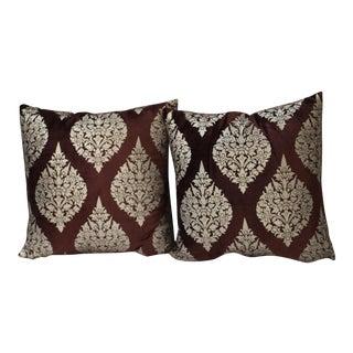 Purple Velvet and Raw Silk Pillows - A Pair