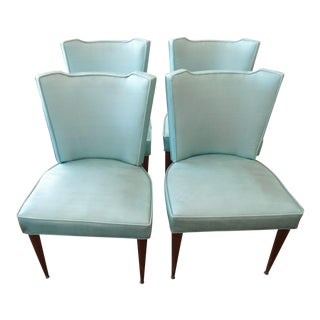 Vintage Blue Vinyl Dining Side Chairs - Set of 4