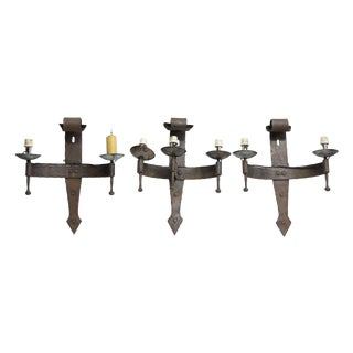 Rustic Iron Wall Sconces - Set of 3