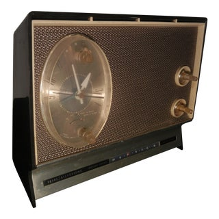 Silvertone Vintage Art Deco 1960's Gold on Dark Brown Clock Radio