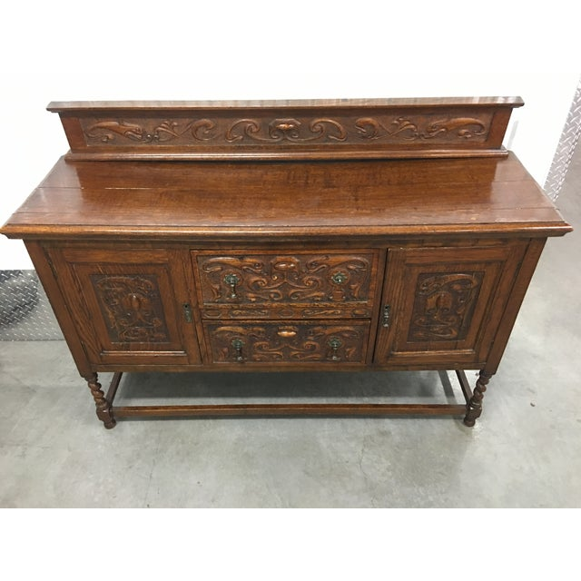 Antique Carved Wood Buffet - Image 10 of 10