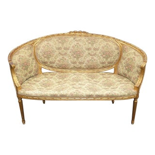 Vintage French Provincial Louis XVI Carved Gold Settee