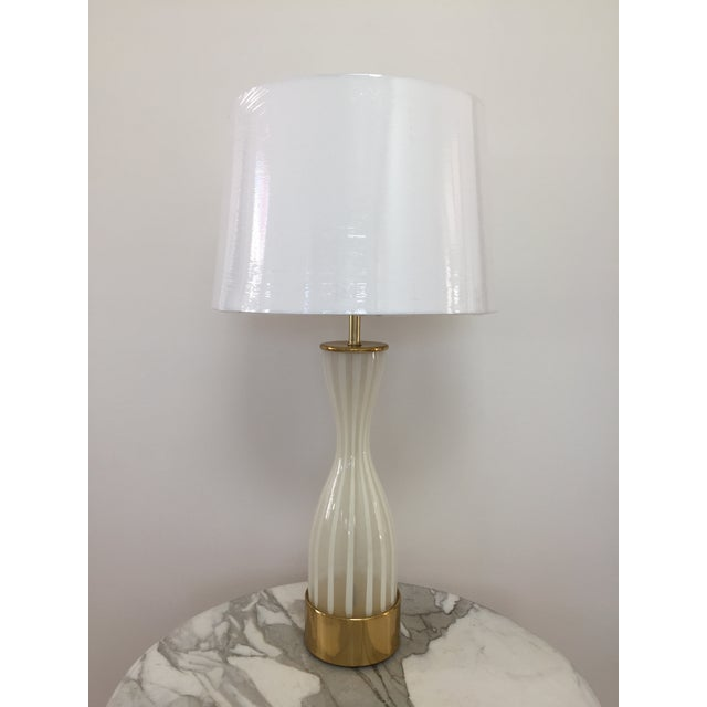 Italian Modern Glass and Brass Table Lamp - Image 8 of 8
